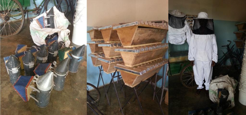 Lokaal vervaardigde berokers, kasten en imkeroverals klaar voor distributie.
